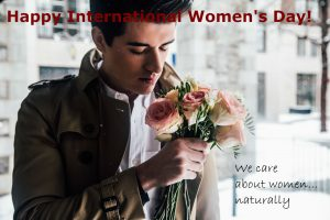 man with a bunch of roses - International Women's Day