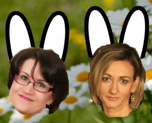 Ewa and Niamh as Easter Bunnies