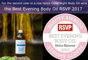 Good Night Body Oil by Holos the best evening body oil award RVSP 2017