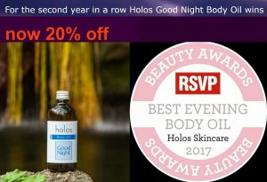 Good Night Body Oil by Holos RVSP 2017 20% discount
